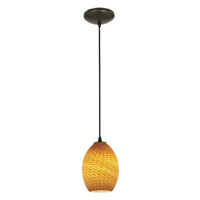 Norberg 1-Light Oval Shade Pendant Finish: Oil Rubbed Bronze, Shade Color: Amber Firebird, Stem Type: Cord