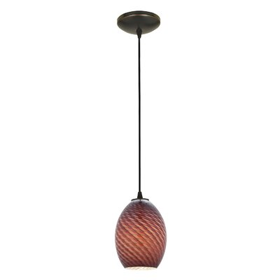 Norberg 1-Light Oval Shade Pendant Finish: Oil Rubbed Bronze, Shade Color: Plum Firebird, Stem Type: Cord