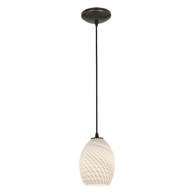 Norberg 1-Light Oval Shade Pendant Finish: Oil Rubbed Bronze, Shade Color: White Firebird, Stem Type: Cord