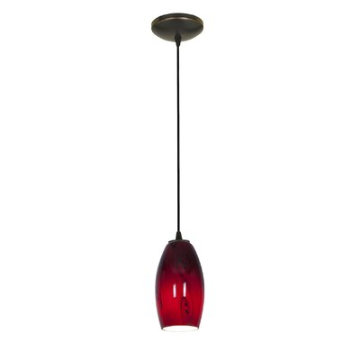Merlot 1-Light Pendant Finish: Oil Rubbed Bronze, Stem Type: Cord, Shade Color: Red Sky