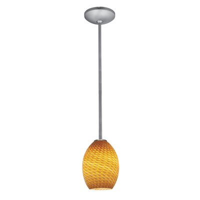 Norberg 1-Light Oval Shade Pendant Finish: Brushed Steel, Shade Color: Amber Firebird, Stem Type: Rod