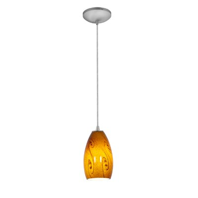 Champagne 1-Light Mini Pendant Finish: Brushed Steel, Shade Color: Amber Sky