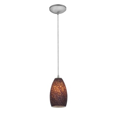 Champagne 1-Light Pendant Finish: Brushed Steel, Shade Color: Brown Stone