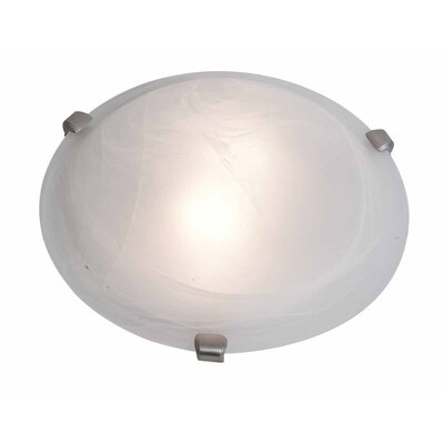 Caves 2-Light Modern Flush Mount Finish: Brushed Steel, Shade Color: White, Size: 4.25 H x 12 W x 12 D