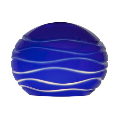 Etched 5 Glass Pendant Shade Color: Blue Lined