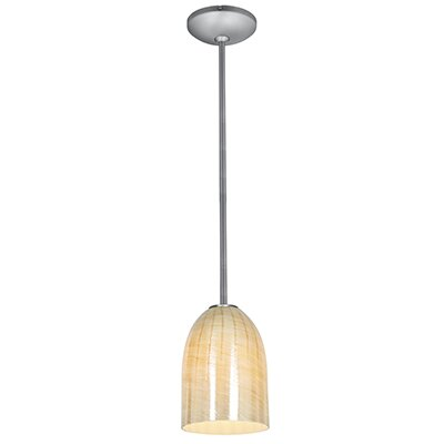 Bordeaux 1-Light Mini Pendant Finish: Brushed Steel, Shade Color: Wicker Amber