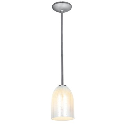 Caraway 1-Light Elliptical Shade Mini Pendant Finish: Brushed Steel, Shade Color: Wicker White