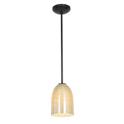 Caraway 1-Light Elliptical Shade Mini Pendant Finish: Oil Rubbed Bronze, Shade Color: Wicker Amber