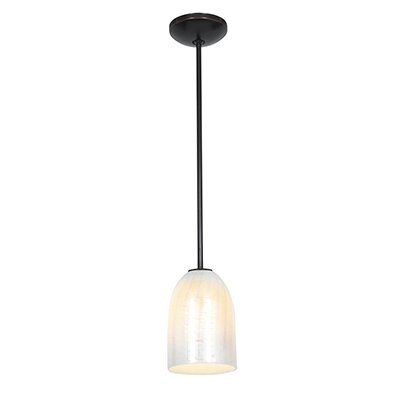 Caraway 1-Light Elliptical Shade Mini Pendant Finish: Oil Rubbed Bronze, Shade Color: Wicker White