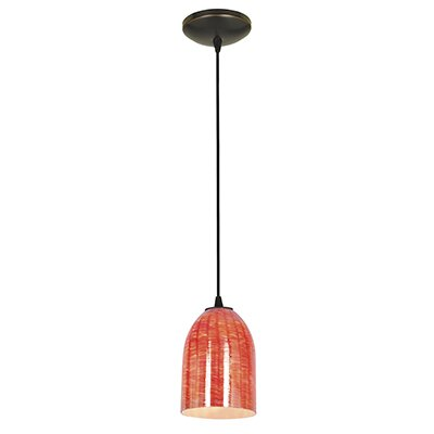 Bordeaux 1-Light Pendant Finish: Oil Rubbed Bronze, Shade Color: Wicker Red