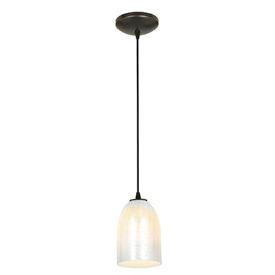 Caraway 1-Light Bowl Shade Pendant Finish: Oil Rubbed Bronze, Shade Color: Wicker White