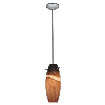Tessa Modern 1-Light Pendant Finish: Brushed Steel, Shade Color: Amber Slate, Stem Type: Rod