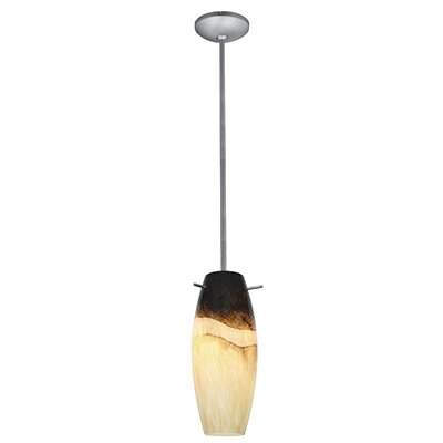Cabernet 1-Light Pendant Finish: Brushed Steel, Shade Color: Sand Slate, Stem Type: Rod