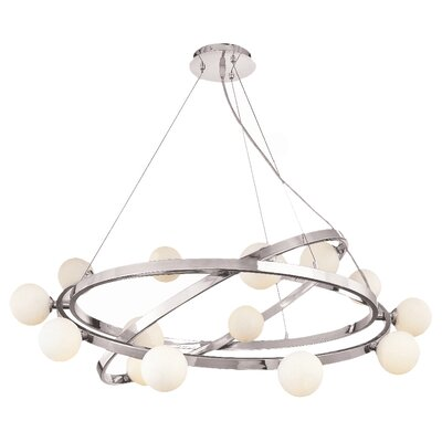 Nitrogen with Opal Glass 15-Light Shaded Chandelier