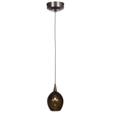 Schum 1-Light Mini Pendant Finish: Brushed Steel, Shade Color: Cobalt