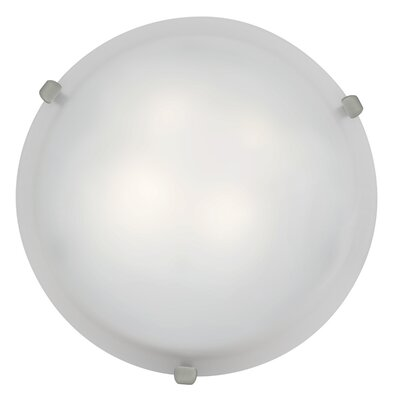Caves 1-Light Flush Mount Finish: Brushed Steel, Shade Color: White, Size: 4.25 H x 12 W x 12 D