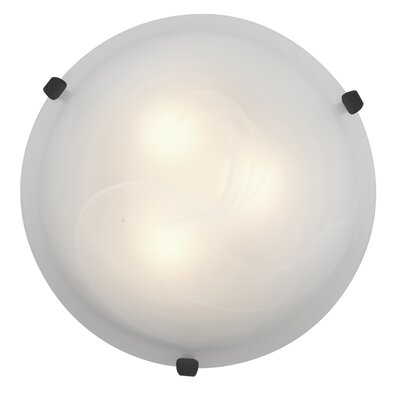 Caves 1-Light Flush Mount Finish: Rust, Shade Color: Alabaster, Size: 4.5 H x 16 W x 16 D