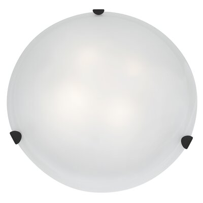 Mona 1-Light Flush Mount Shade Color: White, Finish: Rust, Size: 5.5 H x 20 W x 20 D