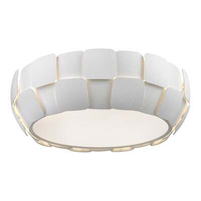 Layers 1-Light Flush Mount Finish: White, Size: 6.3 H x 18 W x 18 D
