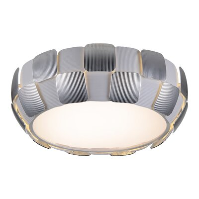 Layers 1-Light Flush Mount Finish: Chrome, Size: 6.3 H x 18 W x 18 D