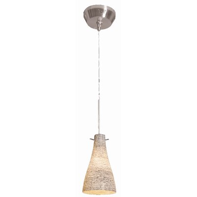 Crisler 1-Light Mini Pendant Finish: Brushed Steel, Glass Color: Amber