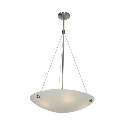 Noya 3-Light Inverted Pendant Size: 36 - 74 H x 28 W x 24 D, Finish: Brushed Steel
