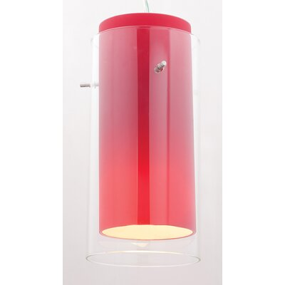 Modern 4.5 Glass Drum Pendant Shade Glass Color: Clear/Red
