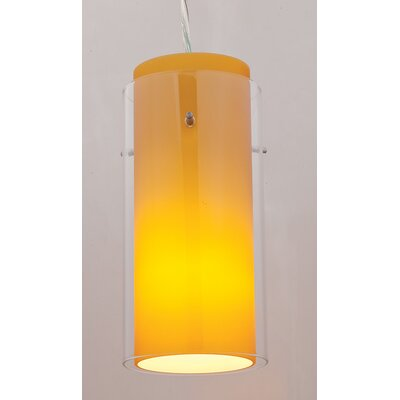 Modern 4.5 Glass Drum Pendant Shade Glass Color: Clear/Amber