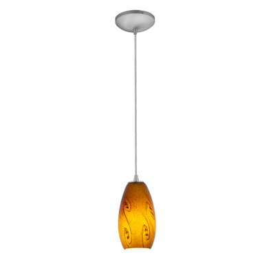 Makenna 1-Light Mini Pendant Finish: Brushed Steel, Shade Color: Red Sky