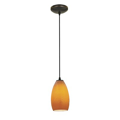 Champagne 1-Light Mini Pendant Shade Color: Maya, Finish: Oil Rubbed Bronze