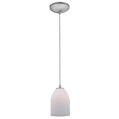 Caraway 1-Light Hardwired Mini Pendant Finish: Brushed Steel, Shade Color: Opal