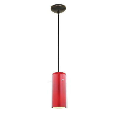 Glass`n Glass Cylinder 1-Light Mini Pendant Shade Color: Clear and Red, Finish: Oil Rubbed Bronze