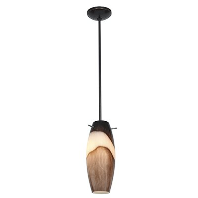 Tessa 1-Light Glass Shade Mini Pendant Finish: Oil Rubbed Bronze, Shade Color: Brown Slate