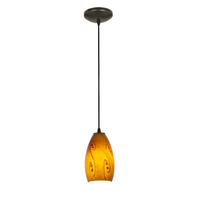 Champagne 1-Light Mini Pendant Shade Color: Amber Sky, Finish: Oil Rubbed Bronze