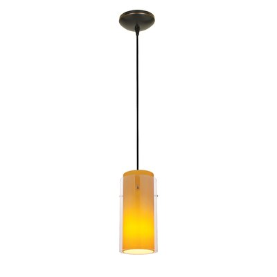 Olden Modern 1-Light Mini Pendant Finish: Oil Rubbed Bronze, Shade Color: Clear and Amber