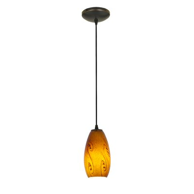 Makenna 1-Light Mini Pendant Finish: Oil Rubbed Bronze, Shade Color: Red Sky