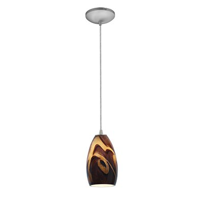 Carballo 1-Light Oval Shade Hardwired Mini Pendant Finish: Brushed Steel, Shade Color: Inca
