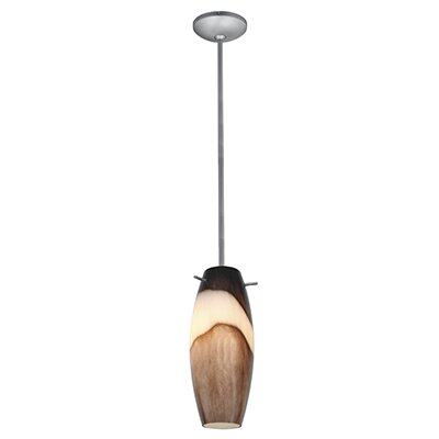 Tessa 1-Light Glass Shade Mini Pendant Color: Brushed Steel, Shade Color: Brown Slate