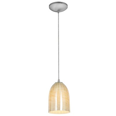 Caraway 1-Light Urn Shade Hardwired Mini Pendant Finish: Brushed Steel, Shade Color: Wicker Amber
