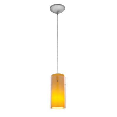 Olden Modern 1-Light Mini Pendant Finish: Brushed Steel, Shade Color: Clear and Amber