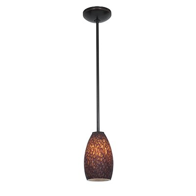 Champagne 1-Light Mini Pendant Shade Color: Brown Stone, Finish: Oil Rubbed Bronze
