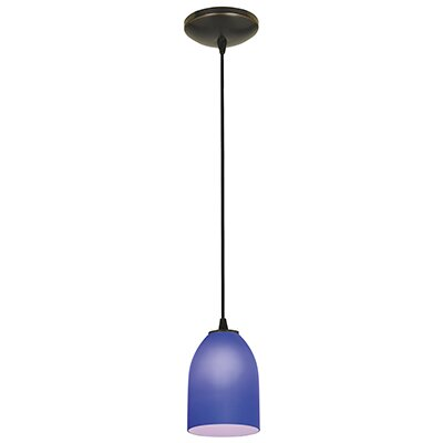 Caraway 1-Light Hardwired Mini Pendant Finish: Oil Rubbed Bronze, Shade Color: Cobalt