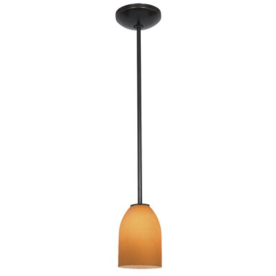 Caraway 1-Light Glass Shade Mini Pendant Finish: Oil Rubbed Bronze, Shade Color: Wicker Amber