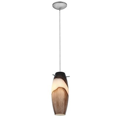 Tessa 1-Light Mini Pendant Color: Brushed Steel, Shade Color: Brown Slate