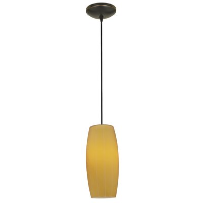 Carberry 1-Light Mini Pendant Finish: Oil Rubbed Bronze, Shade Color: Amber