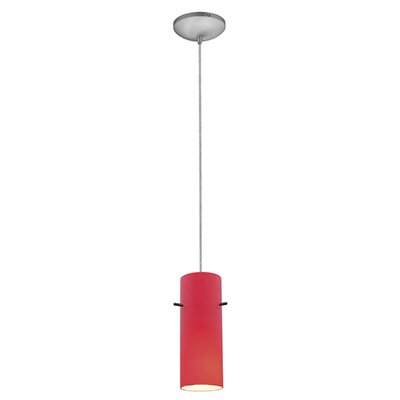 Cylinder 1-Light Mini Pendant Finish: Brushed Steel, Shade Color: Red