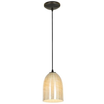 Bordeaux 1-Light Mini Pendant Shade Color: Wicker Amber, Finish: Oil Rubbed Bronze