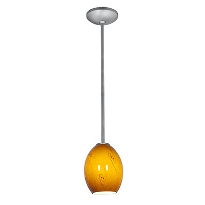 Norby 1-Light Elliptical Shade Hardwired Mini Pendant Finish: Brushed Steel, Shade Color: Amber Sky