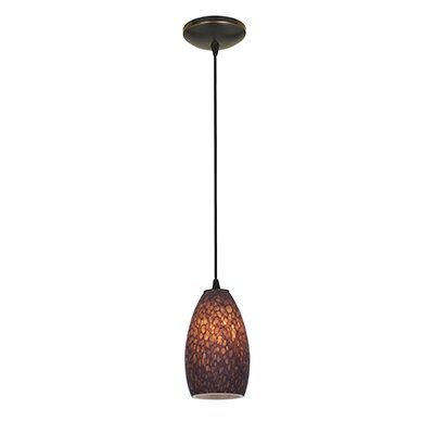 Carballo 1-Light Glass Shade Hardwired Mini Pendant Finish: Oil Rubbed Bronze, Shade Color: Brown Stone