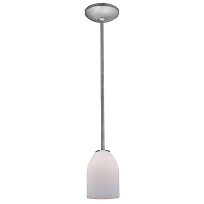 Caraway 1-Light Elliptical Glass Shade Mini Pendant Finish: Brushed Steel, Shade Color: Opal